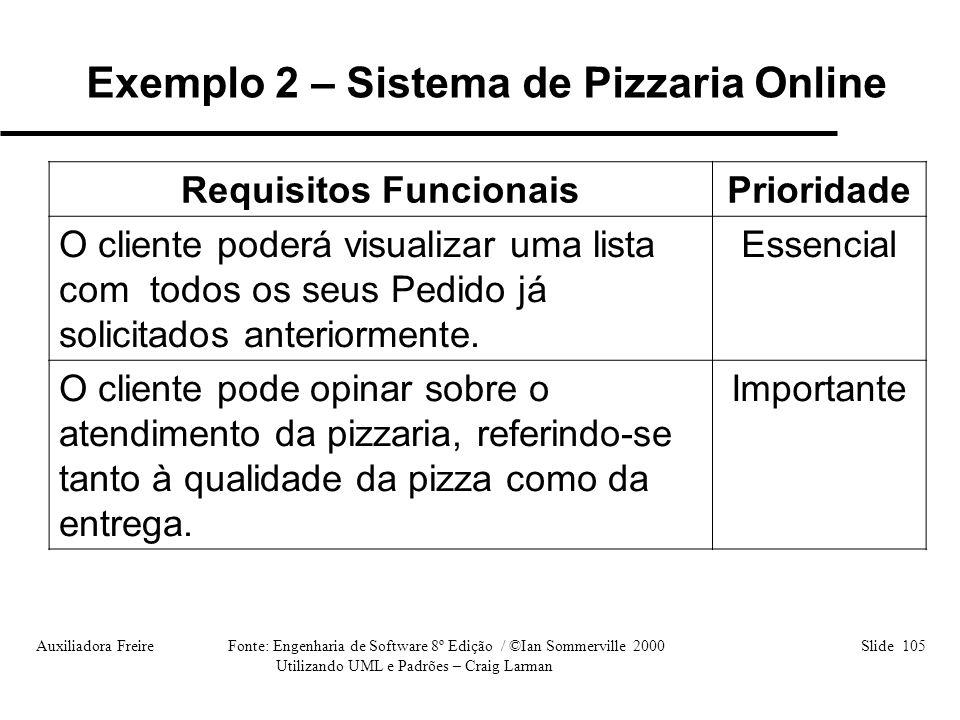 Auxiliadora Freire Fonte: Engenharia de Software 8º Edição / ©Ian Sommerville 2000 Slide 105 Utilizando UML e Padrões – Craig Larman Requisitos Funcio