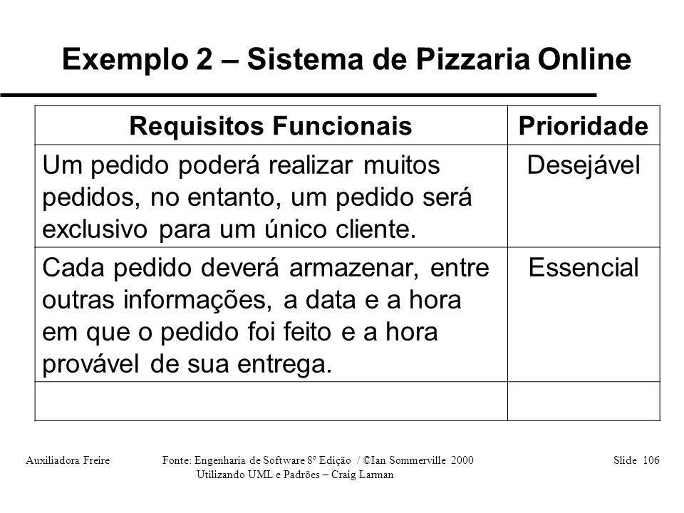 Auxiliadora Freire Fonte: Engenharia de Software 8º Edição / ©Ian Sommerville 2000 Slide 106 Utilizando UML e Padrões – Craig Larman Requisitos Funcio