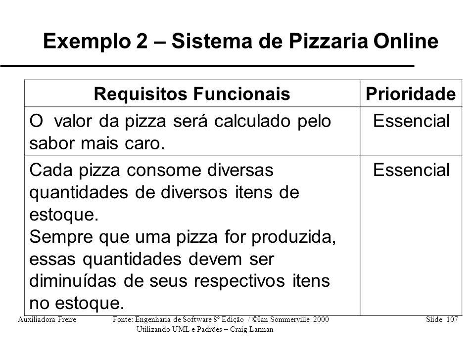 Auxiliadora Freire Fonte: Engenharia de Software 8º Edição / ©Ian Sommerville 2000 Slide 107 Utilizando UML e Padrões – Craig Larman Requisitos Funcio