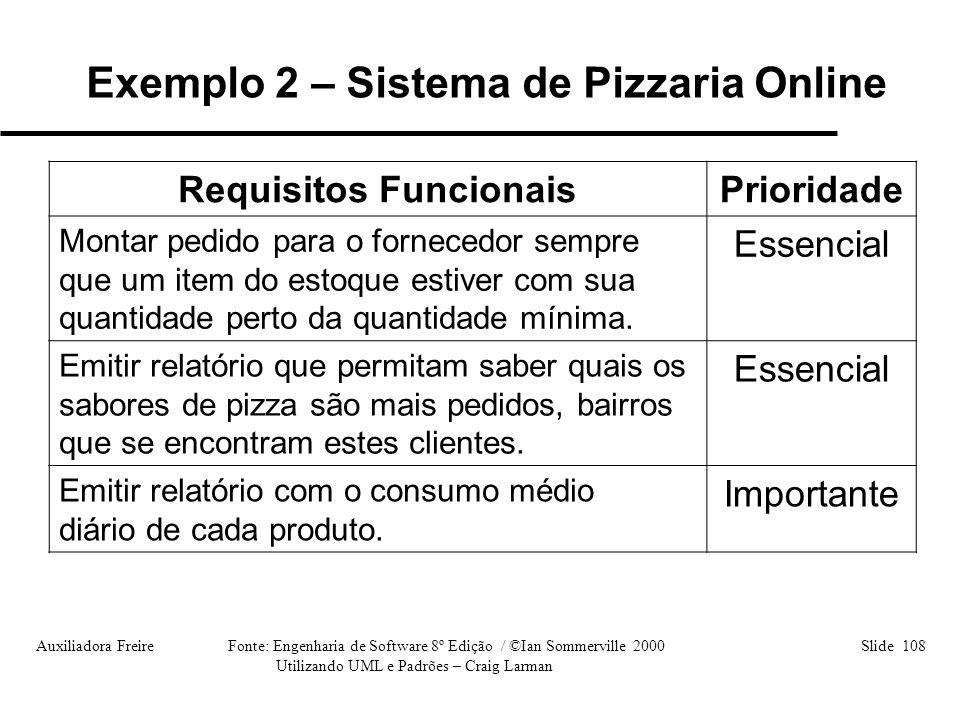 Auxiliadora Freire Fonte: Engenharia de Software 8º Edição / ©Ian Sommerville 2000 Slide 108 Utilizando UML e Padrões – Craig Larman Requisitos Funcio