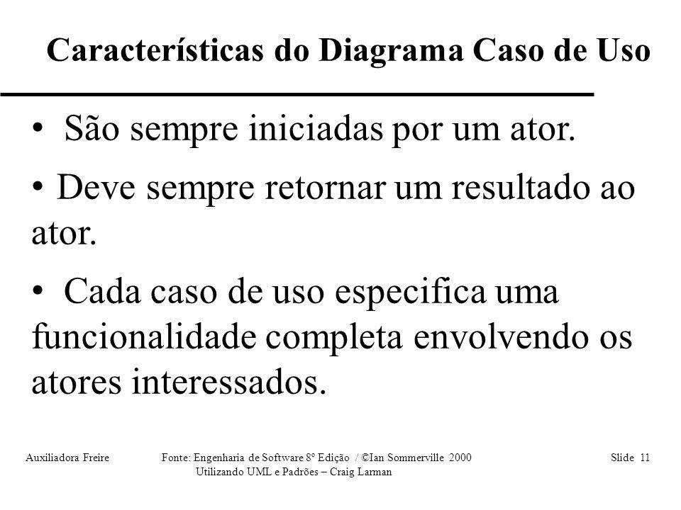 Auxiliadora Freire Fonte: Engenharia de Software 8º Edição / ©Ian Sommerville 2000 Slide 11 Utilizando UML e Padrões – Craig Larman • São sempre inici