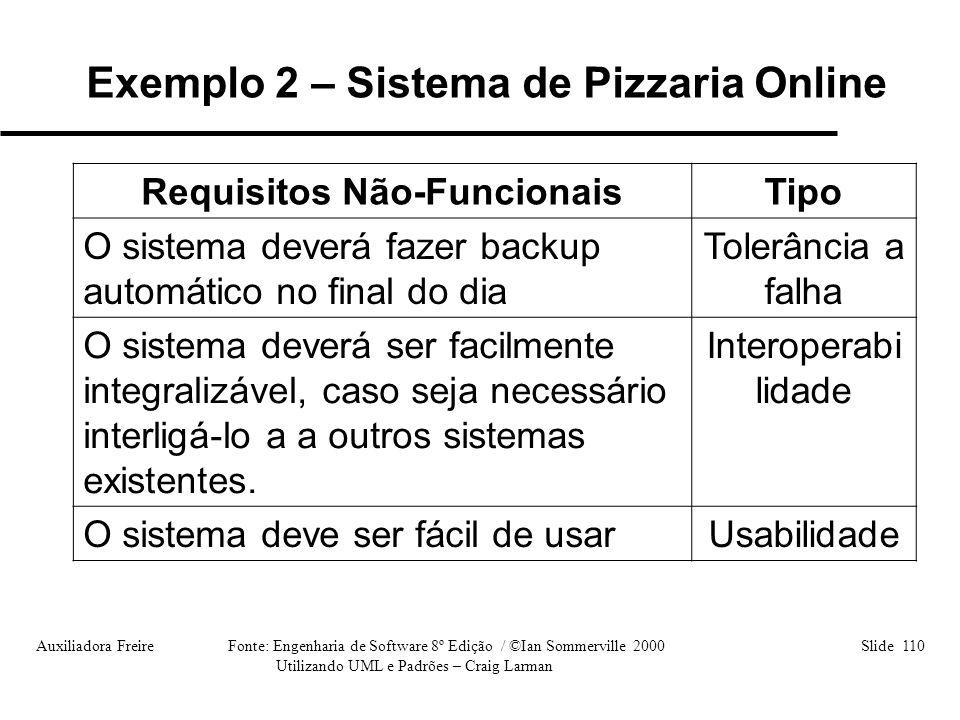 Auxiliadora Freire Fonte: Engenharia de Software 8º Edição / ©Ian Sommerville 2000 Slide 110 Utilizando UML e Padrões – Craig Larman Requisitos Não-Fu