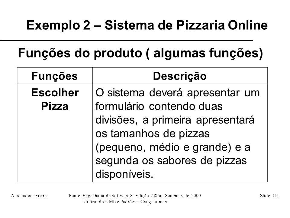 Auxiliadora Freire Fonte: Engenharia de Software 8º Edição / ©Ian Sommerville 2000 Slide 111 Utilizando UML e Padrões – Craig Larman Funções do produt
