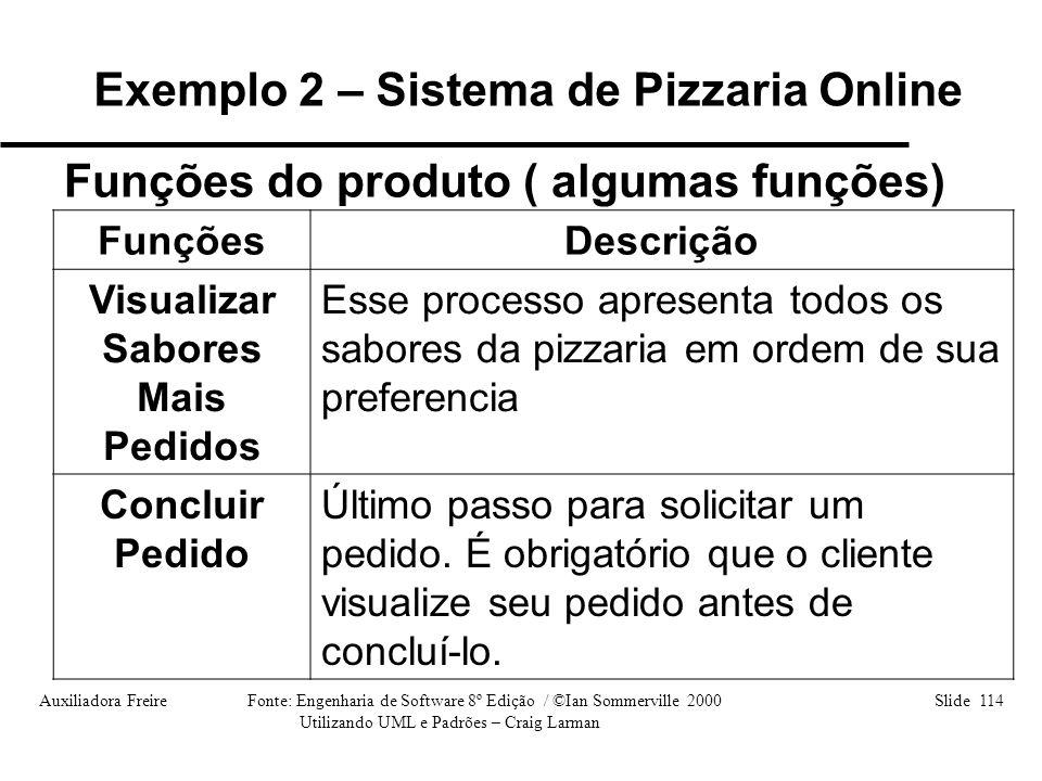 Auxiliadora Freire Fonte: Engenharia de Software 8º Edição / ©Ian Sommerville 2000 Slide 114 Utilizando UML e Padrões – Craig Larman FunçõesDescrição
