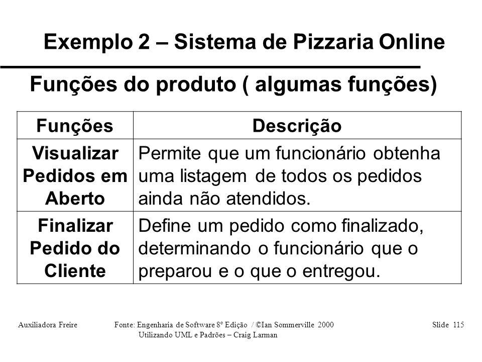 Auxiliadora Freire Fonte: Engenharia de Software 8º Edição / ©Ian Sommerville 2000 Slide 115 Utilizando UML e Padrões – Craig Larman FunçõesDescrição