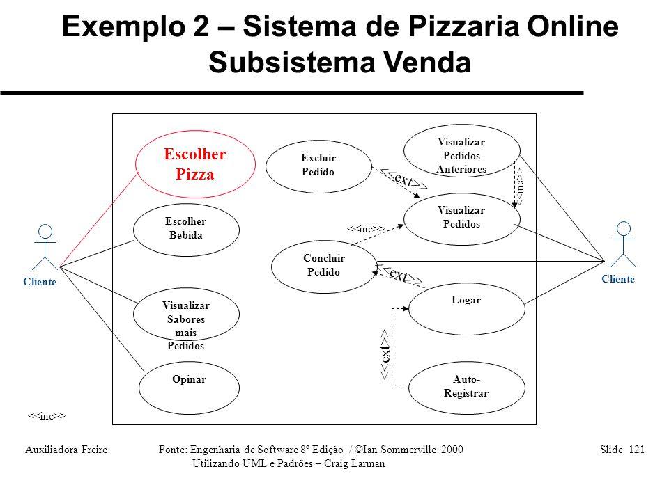 Auxiliadora Freire Fonte: Engenharia de Software 8º Edição / ©Ian Sommerville 2000 Slide 121 Utilizando UML e Padrões – Craig Larman Cliente Visualiza