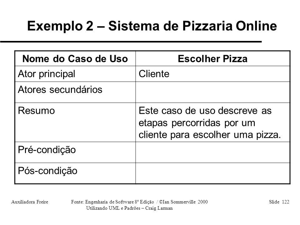 Auxiliadora Freire Fonte: Engenharia de Software 8º Edição / ©Ian Sommerville 2000 Slide 122 Utilizando UML e Padrões – Craig Larman Nome do Caso de U