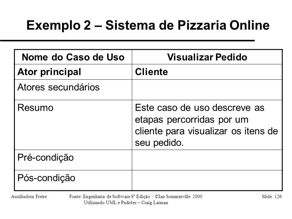 Auxiliadora Freire Fonte: Engenharia de Software 8º Edição / ©Ian Sommerville 2000 Slide 126 Utilizando UML e Padrões – Craig Larman Nome do Caso de U