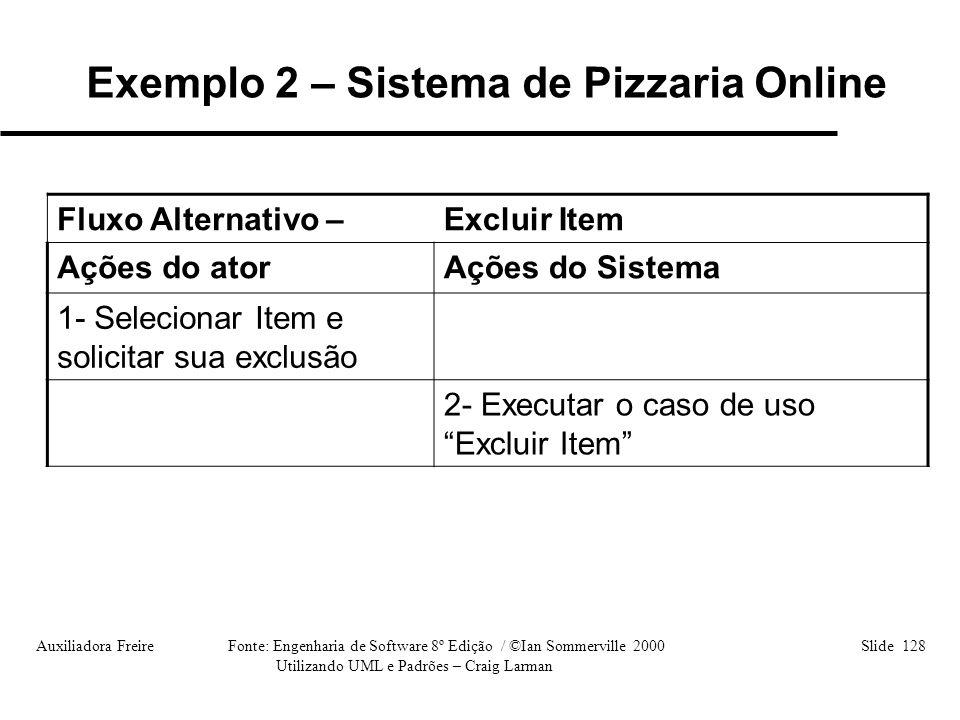 Auxiliadora Freire Fonte: Engenharia de Software 8º Edição / ©Ian Sommerville 2000 Slide 128 Utilizando UML e Padrões – Craig Larman Fluxo Alternativo