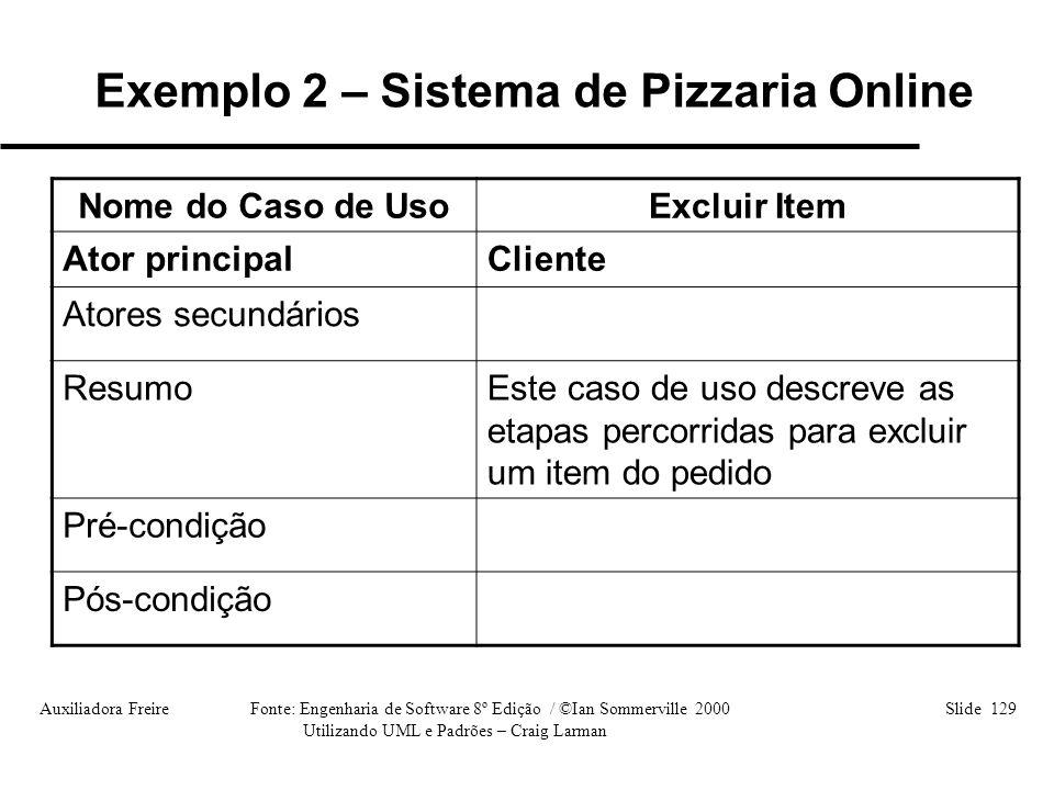 Auxiliadora Freire Fonte: Engenharia de Software 8º Edição / ©Ian Sommerville 2000 Slide 129 Utilizando UML e Padrões – Craig Larman Nome do Caso de U