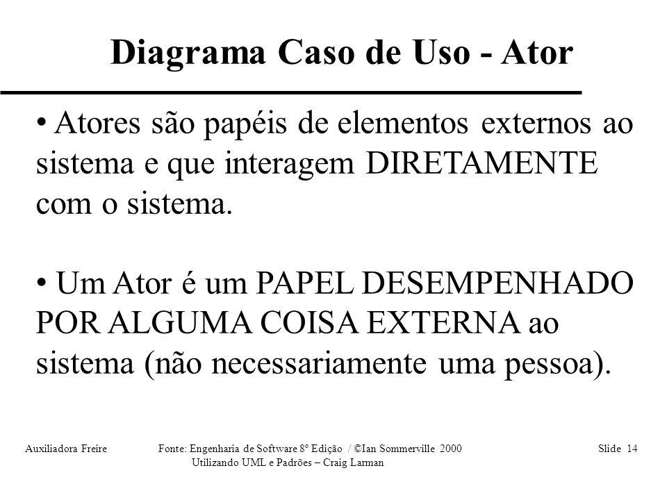 Auxiliadora Freire Fonte: Engenharia de Software 8º Edição / ©Ian Sommerville 2000 Slide 14 Utilizando UML e Padrões – Craig Larman • Atores são papéi