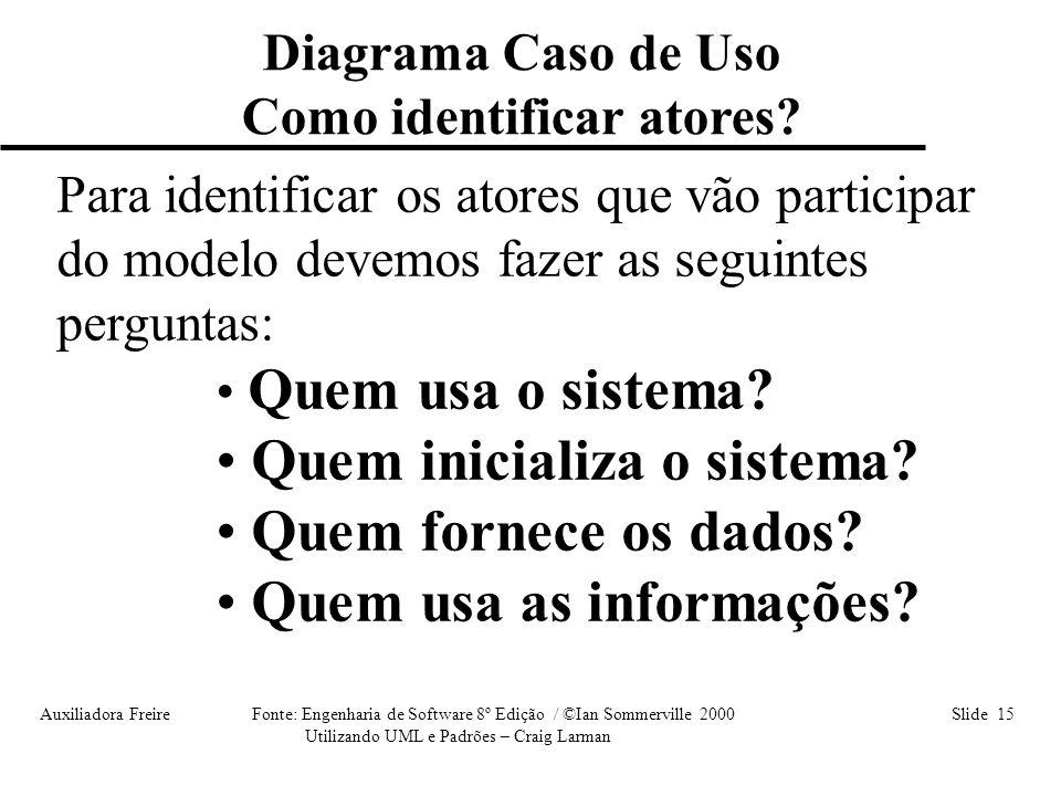 Auxiliadora Freire Fonte: Engenharia de Software 8º Edição / ©Ian Sommerville 2000 Slide 15 Utilizando UML e Padrões – Craig Larman Para identificar o