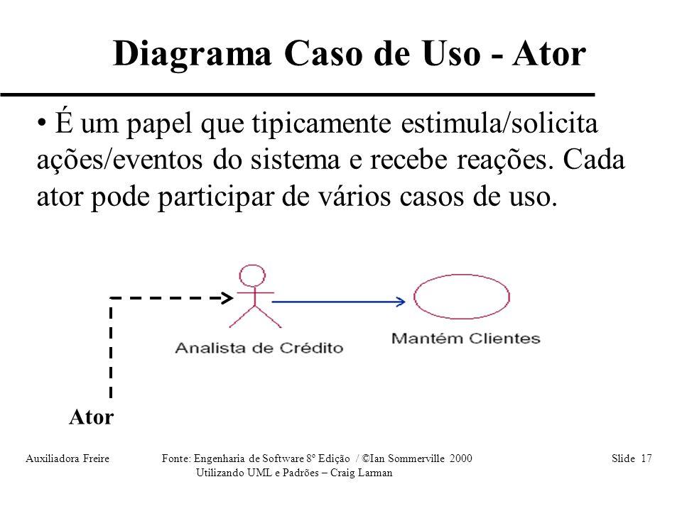 Auxiliadora Freire Fonte: Engenharia de Software 8º Edição / ©Ian Sommerville 2000 Slide 17 Utilizando UML e Padrões – Craig Larman • É um papel que t