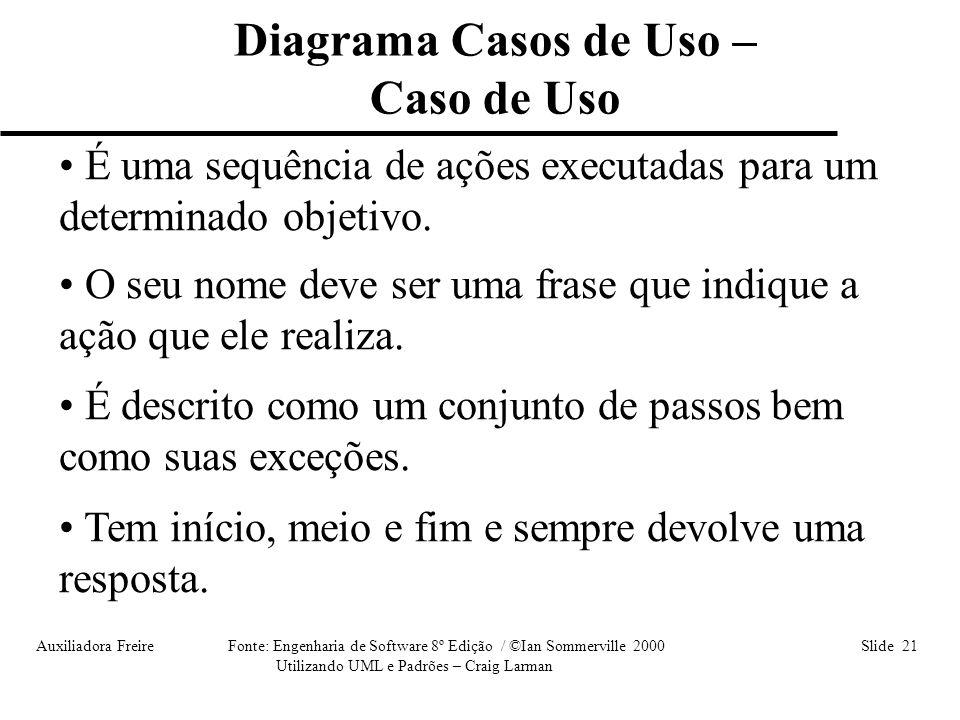 Auxiliadora Freire Fonte: Engenharia de Software 8º Edição / ©Ian Sommerville 2000 Slide 21 Utilizando UML e Padrões – Craig Larman • É uma sequência