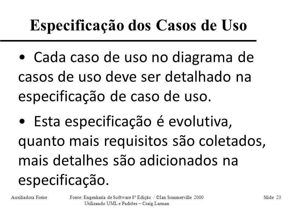 Auxiliadora Freire Fonte: Engenharia de Software 8º Edição / ©Ian Sommerville 2000 Slide 23 Utilizando UML e Padrões – Craig Larman Especificação dos