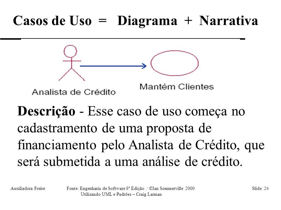 Auxiliadora Freire Fonte: Engenharia de Software 8º Edição / ©Ian Sommerville 2000 Slide 24 Utilizando UML e Padrões – Craig Larman Casos de Uso = Dia