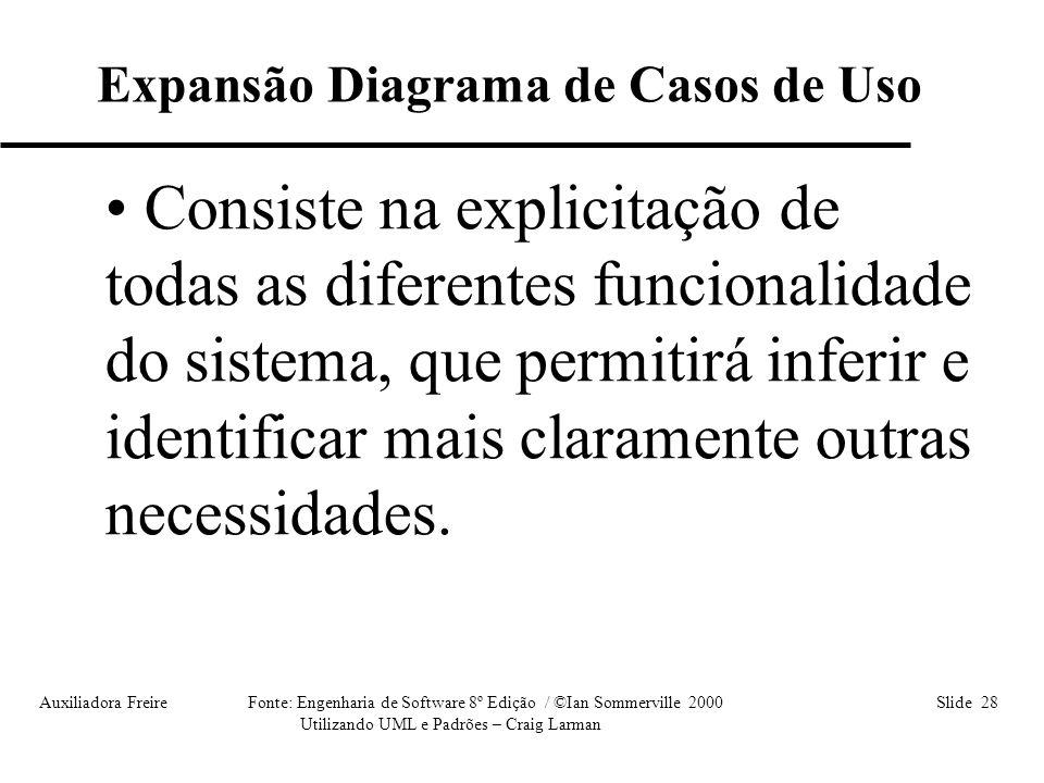 Auxiliadora Freire Fonte: Engenharia de Software 8º Edição / ©Ian Sommerville 2000 Slide 28 Utilizando UML e Padrões – Craig Larman • Consiste na expl