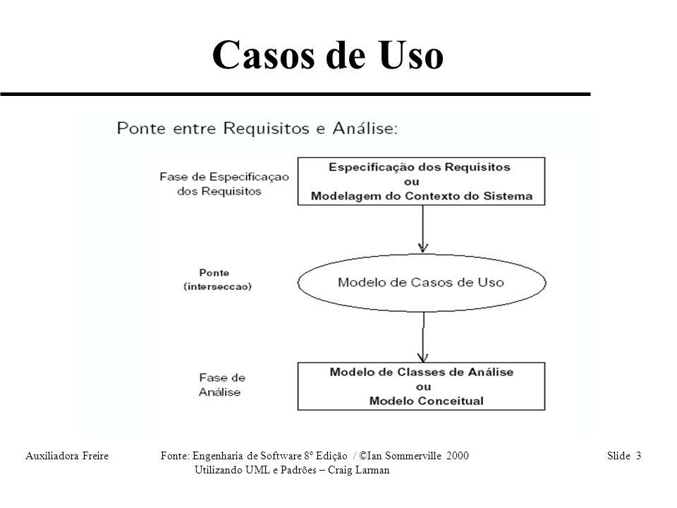 Auxiliadora Freire Fonte: Engenharia de Software 8º Edição / ©Ian Sommerville 2000 Slide 34 Utilizando UML e Padrões – Craig Larman • Cenário 1 : Passo1, Passo2, Passo3, Passo4 (Fluxo Básico); • Cenário 2 : Passo1, Passo2, A1, Passo4; • Cenário 3 : Passo1, Passo2, Passo 3, A2, Passo2; • Cenário 4 : Passo1, Passo2, A1, A2, Passo2; • Cenário 5 : Passo1, A3.