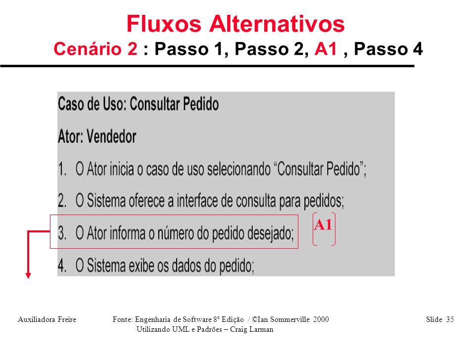 Auxiliadora Freire Fonte: Engenharia de Software 8º Edição / ©Ian Sommerville 2000 Slide 35 Utilizando UML e Padrões – Craig Larman Fluxos Alternativo