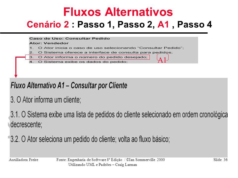 Auxiliadora Freire Fonte: Engenharia de Software 8º Edição / ©Ian Sommerville 2000 Slide 36 Utilizando UML e Padrões – Craig Larman Fluxos Alternativo