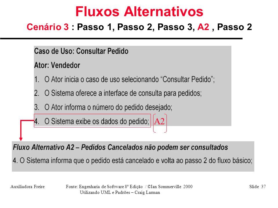 Auxiliadora Freire Fonte: Engenharia de Software 8º Edição / ©Ian Sommerville 2000 Slide 37 Utilizando UML e Padrões – Craig Larman Fluxos Alternativo