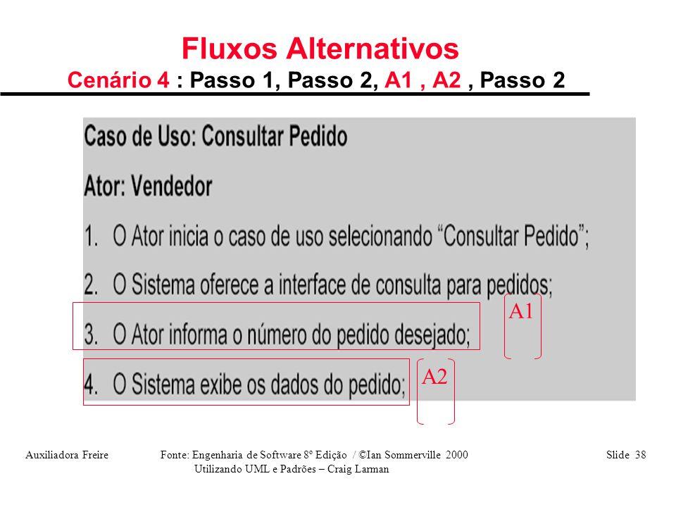 Auxiliadora Freire Fonte: Engenharia de Software 8º Edição / ©Ian Sommerville 2000 Slide 38 Utilizando UML e Padrões – Craig Larman Fluxos Alternativo