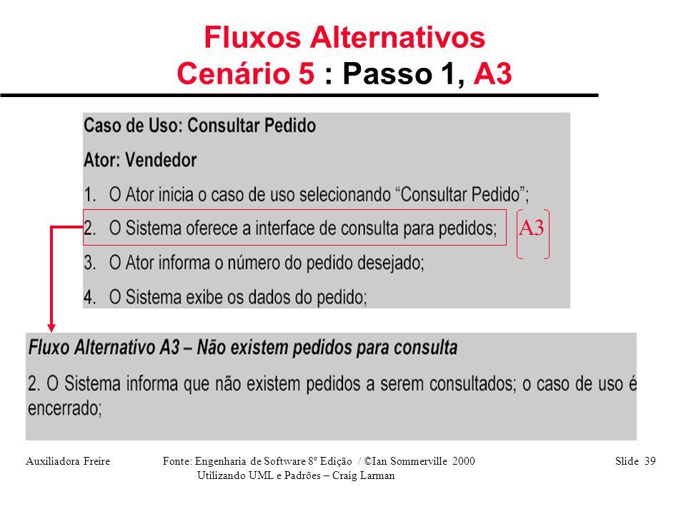 Auxiliadora Freire Fonte: Engenharia de Software 8º Edição / ©Ian Sommerville 2000 Slide 39 Utilizando UML e Padrões – Craig Larman Fluxos Alternativo