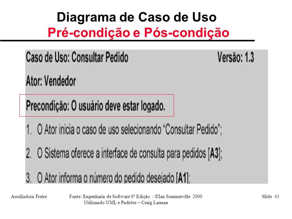 Auxiliadora Freire Fonte: Engenharia de Software 8º Edição / ©Ian Sommerville 2000 Slide 43 Utilizando UML e Padrões – Craig Larman Diagrama de Caso d