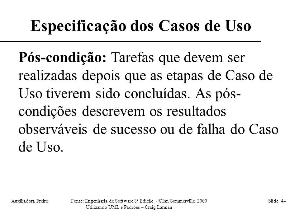 Auxiliadora Freire Fonte: Engenharia de Software 8º Edição / ©Ian Sommerville 2000 Slide 44 Utilizando UML e Padrões – Craig Larman Pós-condição: Tare