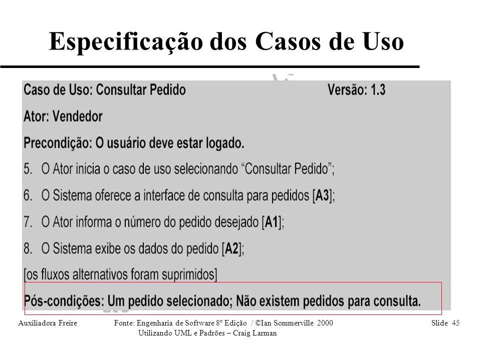 Auxiliadora Freire Fonte: Engenharia de Software 8º Edição / ©Ian Sommerville 2000 Slide 45 Utilizando UML e Padrões – Craig Larman Especificação dos