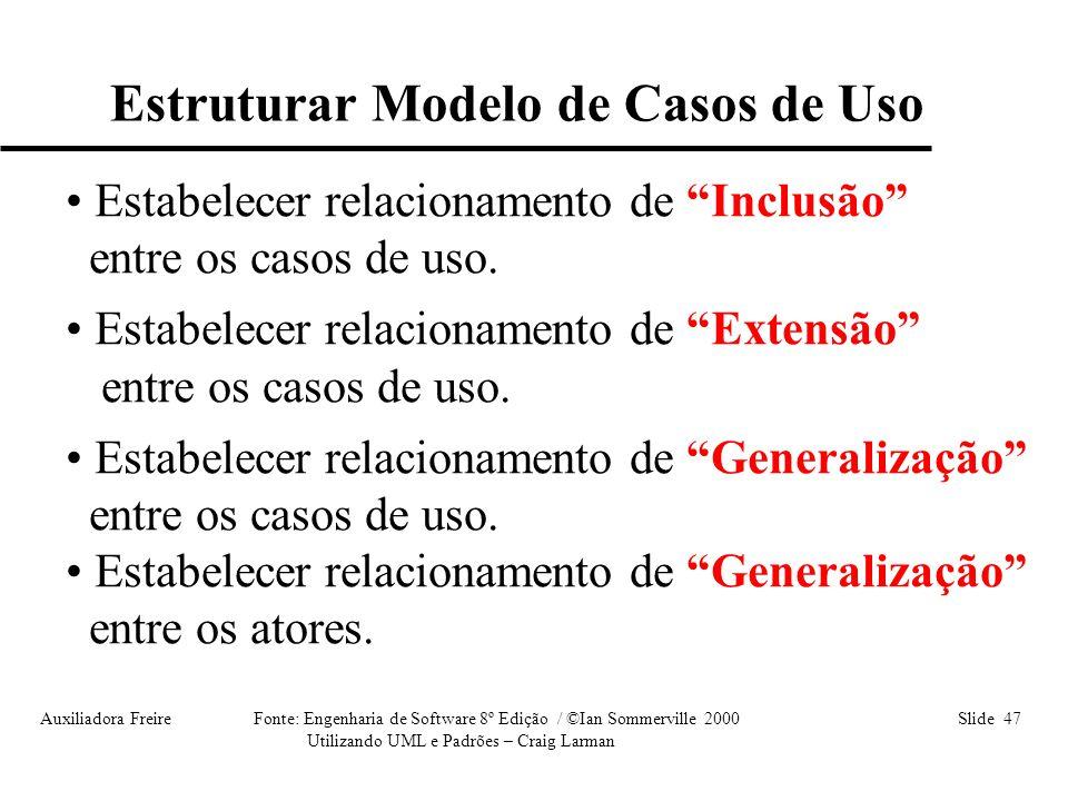 Auxiliadora Freire Fonte: Engenharia de Software 8º Edição / ©Ian Sommerville 2000 Slide 47 Utilizando UML e Padrões – Craig Larman Estruturar Modelo