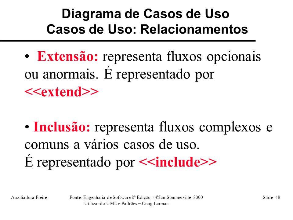 Auxiliadora Freire Fonte: Engenharia de Software 8º Edição / ©Ian Sommerville 2000 Slide 48 Utilizando UML e Padrões – Craig Larman Diagrama de Casos