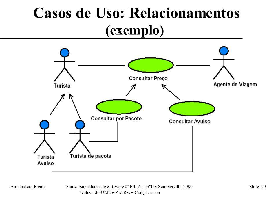 Auxiliadora Freire Fonte: Engenharia de Software 8º Edição / ©Ian Sommerville 2000 Slide 50 Utilizando UML e Padrões – Craig Larman Casos de Uso: Rela