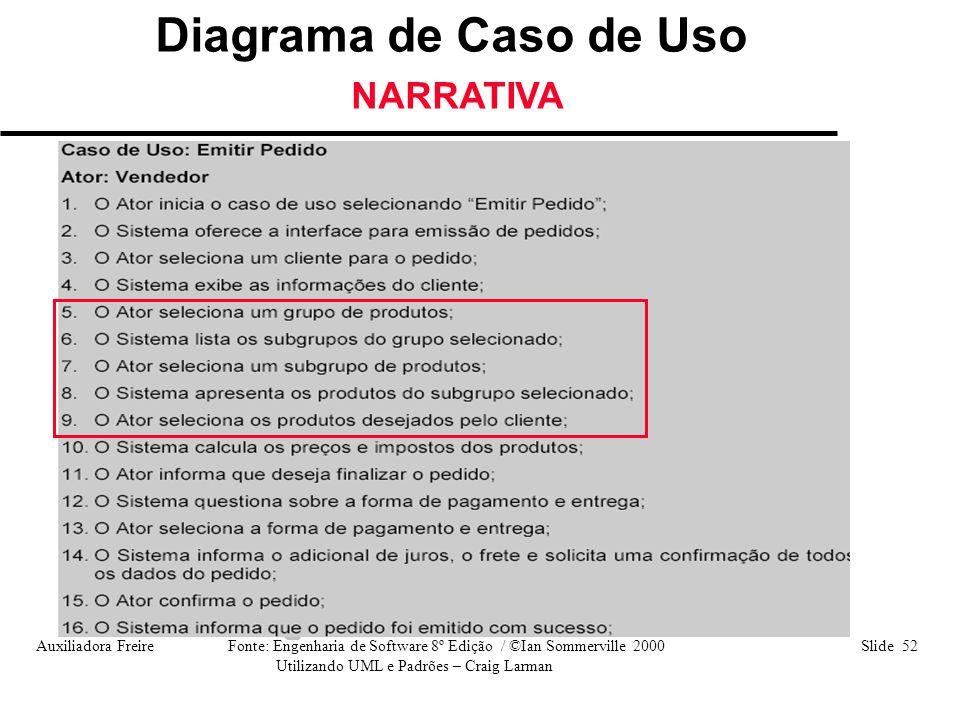 Auxiliadora Freire Fonte: Engenharia de Software 8º Edição / ©Ian Sommerville 2000 Slide 52 Utilizando UML e Padrões – Craig Larman Diagrama de Caso d