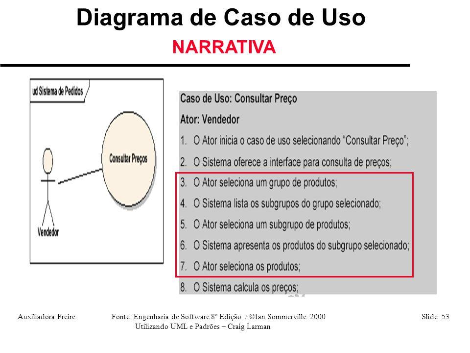 Auxiliadora Freire Fonte: Engenharia de Software 8º Edição / ©Ian Sommerville 2000 Slide 53 Utilizando UML e Padrões – Craig Larman Diagrama de Caso d