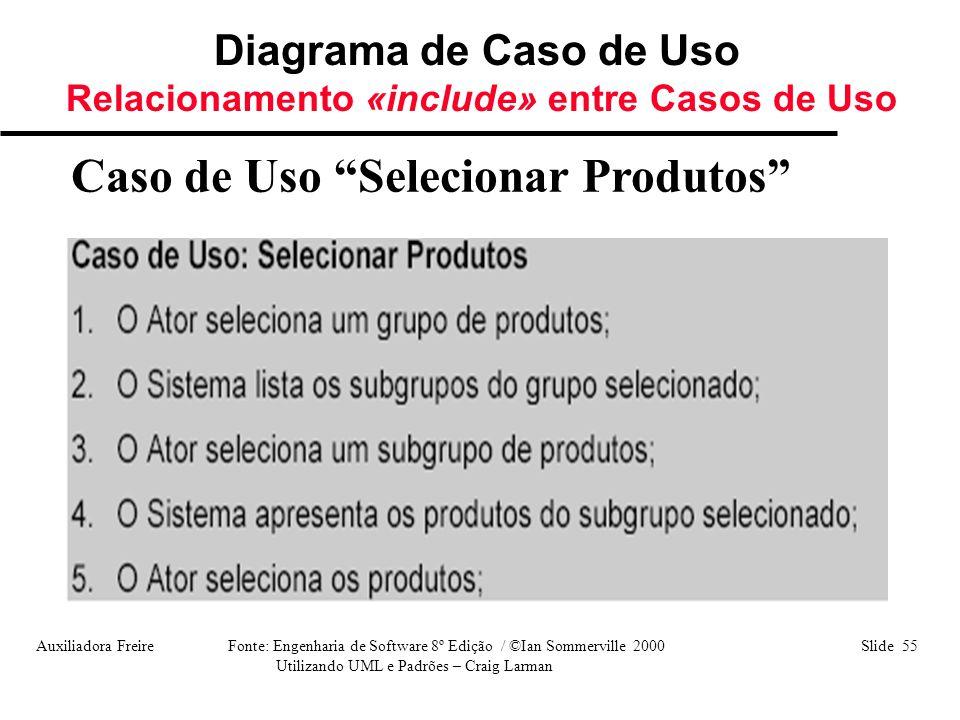 """Auxiliadora Freire Fonte: Engenharia de Software 8º Edição / ©Ian Sommerville 2000 Slide 55 Utilizando UML e Padrões – Craig Larman Caso de Uso """"Selec"""