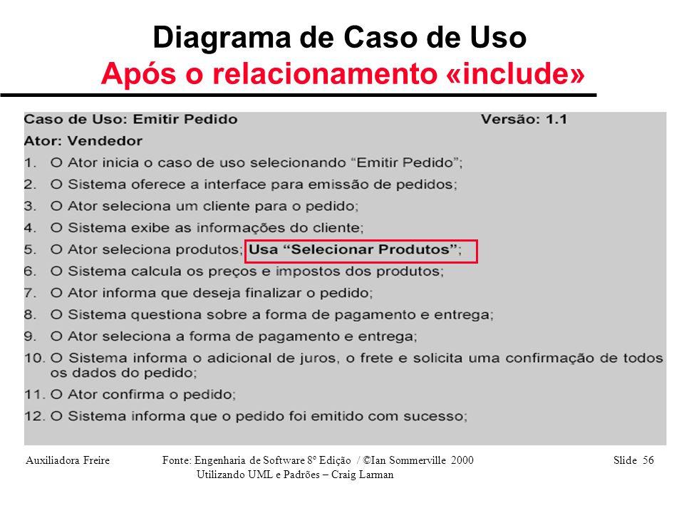 Auxiliadora Freire Fonte: Engenharia de Software 8º Edição / ©Ian Sommerville 2000 Slide 56 Utilizando UML e Padrões – Craig Larman Diagrama de Caso d