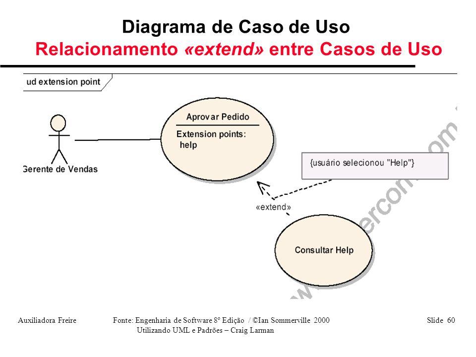 Auxiliadora Freire Fonte: Engenharia de Software 8º Edição / ©Ian Sommerville 2000 Slide 60 Utilizando UML e Padrões – Craig Larman Diagrama de Caso d