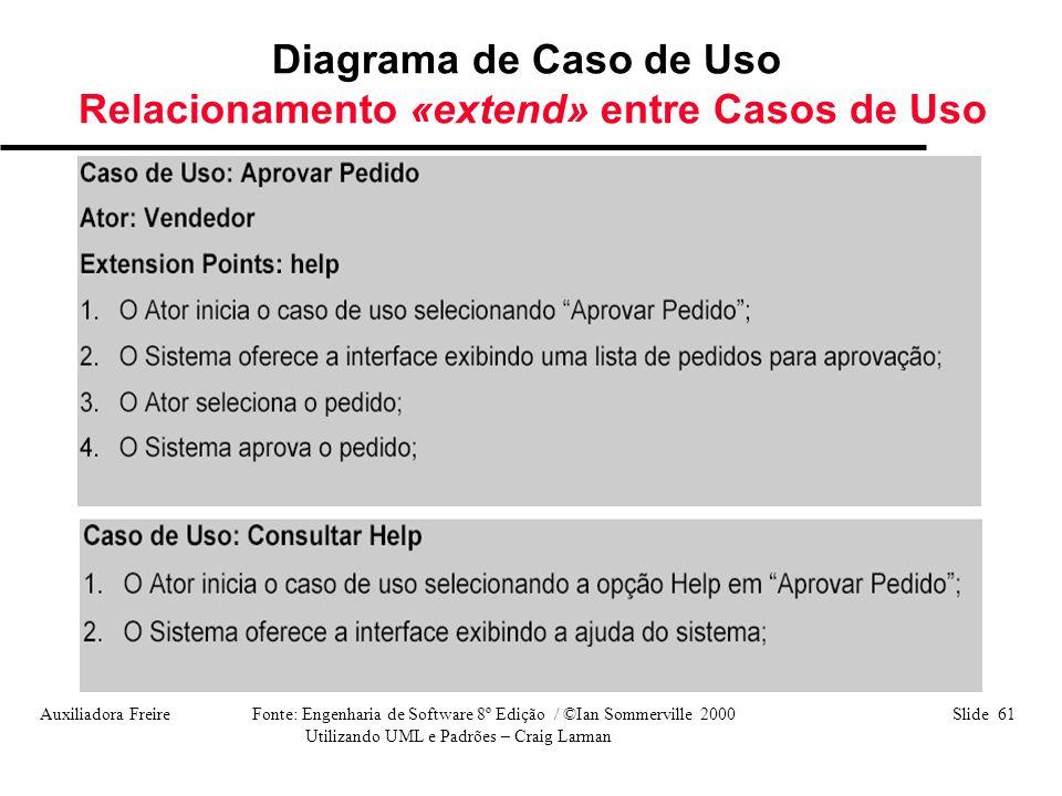 Auxiliadora Freire Fonte: Engenharia de Software 8º Edição / ©Ian Sommerville 2000 Slide 61 Utilizando UML e Padrões – Craig Larman Diagrama de Caso d