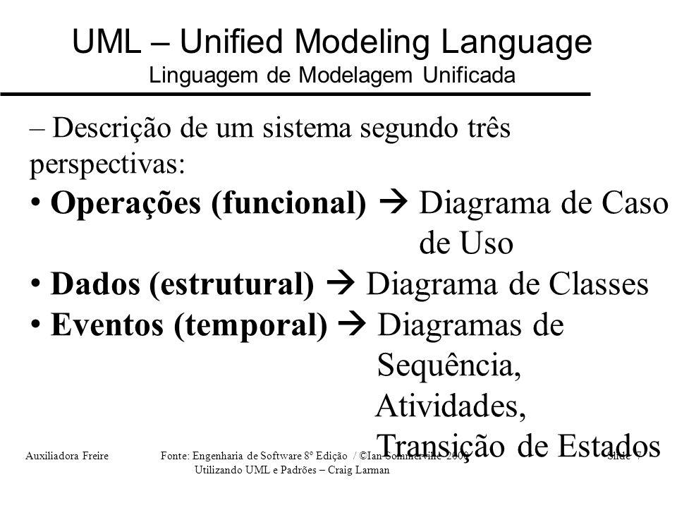 Auxiliadora Freire Fonte: Engenharia de Software 8º Edição / ©Ian Sommerville 2000 Slide 8 Utilizando UML e Padrões – Craig Larman UML – Unified Modeling Language Linguagem de Modelagem Unificada • cada diagrama da UML modela o sistema em camadas, sendo que alguns diagramas enfocam o sistema de forma mais geral, apresentando uma visão externa do sistema, como é o objetivo do Diagrama de Casos de Uso.