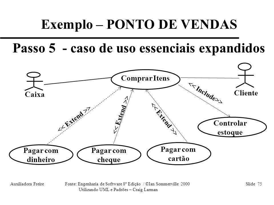 Auxiliadora Freire Fonte: Engenharia de Software 8º Edição / ©Ian Sommerville 2000 Slide 75 Utilizando UML e Padrões – Craig Larman Exemplo – PONTO DE