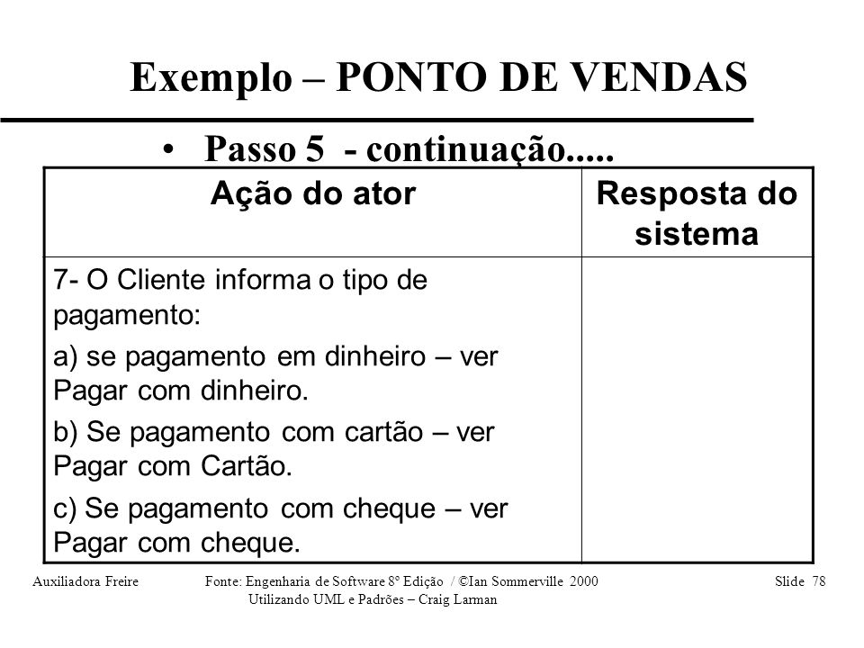 Auxiliadora Freire Fonte: Engenharia de Software 8º Edição / ©Ian Sommerville 2000 Slide 78 Utilizando UML e Padrões – Craig Larman • Passo 5 - contin