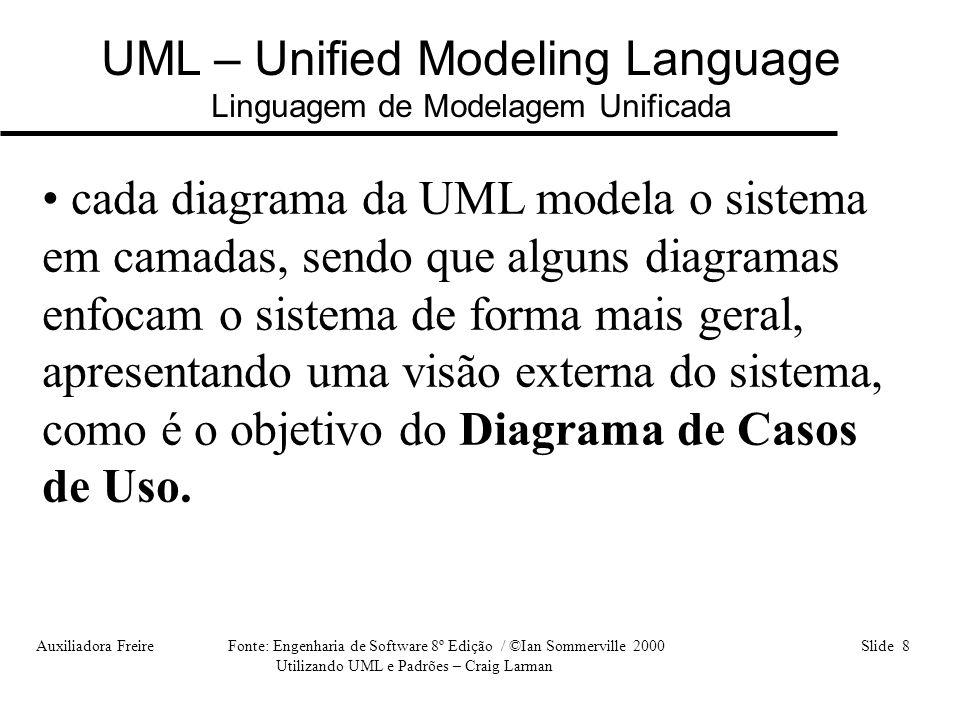Auxiliadora Freire Fonte: Engenharia de Software 8º Edição / ©Ian Sommerville 2000 Slide 8 Utilizando UML e Padrões – Craig Larman UML – Unified Model