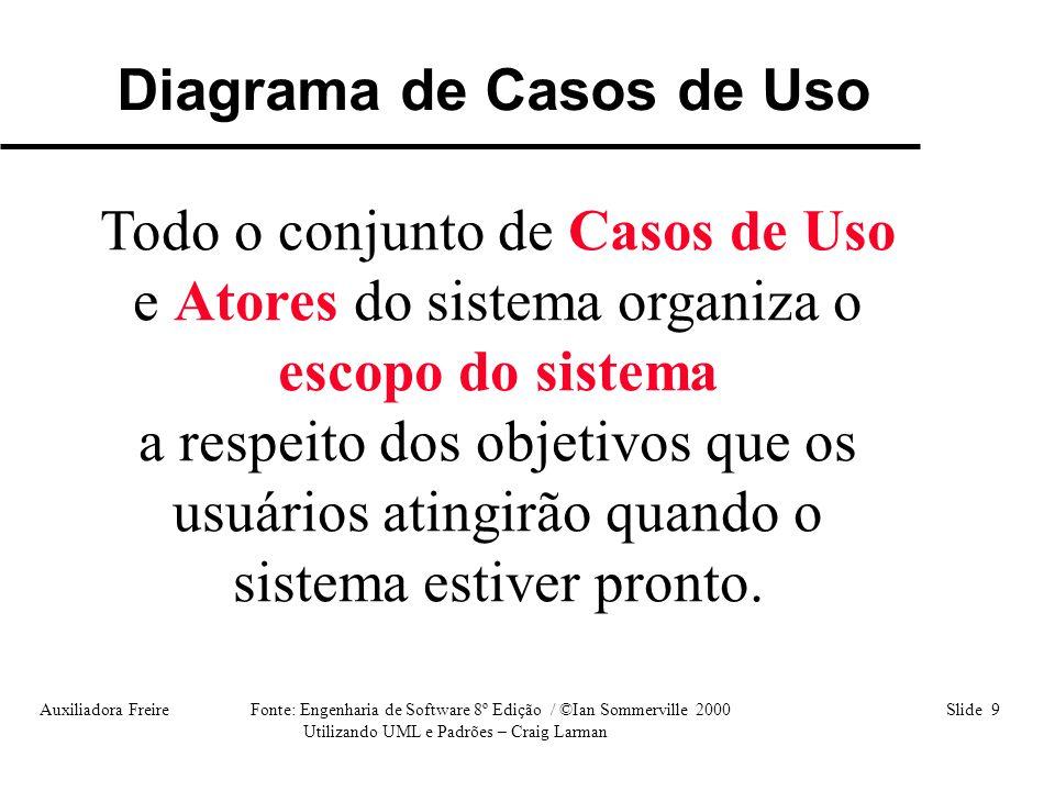 Auxiliadora Freire Fonte: Engenharia de Software 8º Edição / ©Ian Sommerville 2000 Slide 20 Utilizando UML e Padrões – Craig Larman Casos de Uso = OBJETIVO do Ator Diagrama Caso de Uso Representação