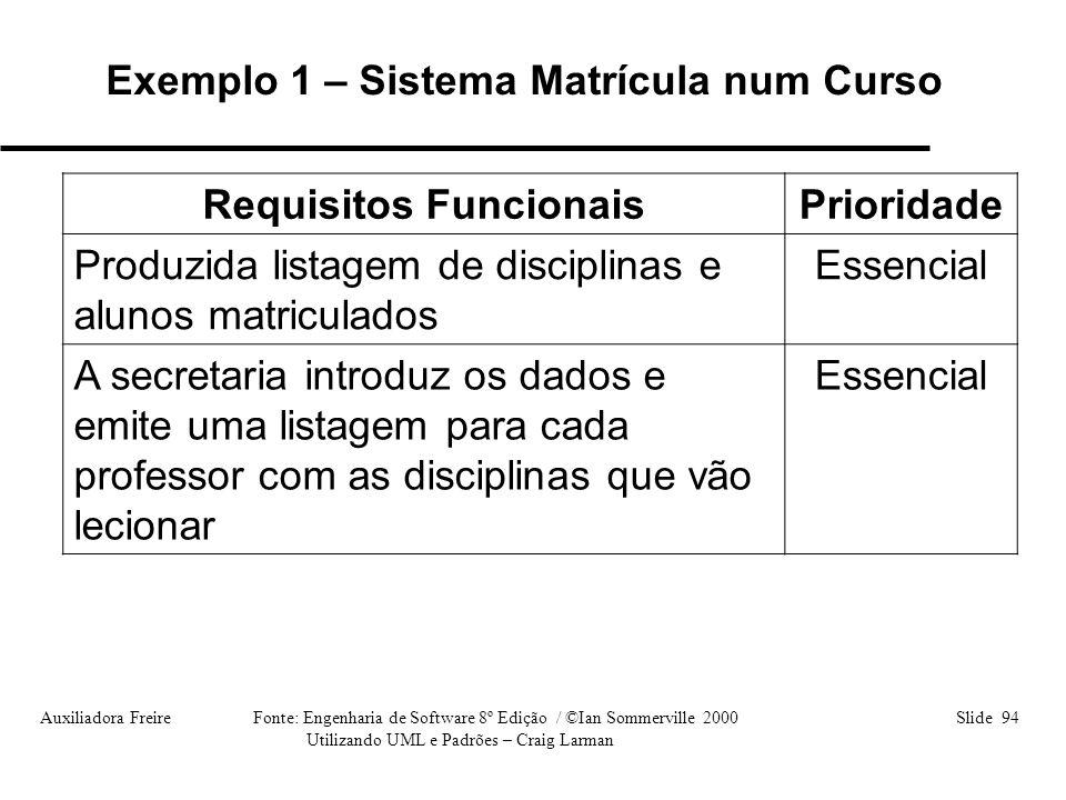 Auxiliadora Freire Fonte: Engenharia de Software 8º Edição / ©Ian Sommerville 2000 Slide 94 Utilizando UML e Padrões – Craig Larman Requisitos Funcion