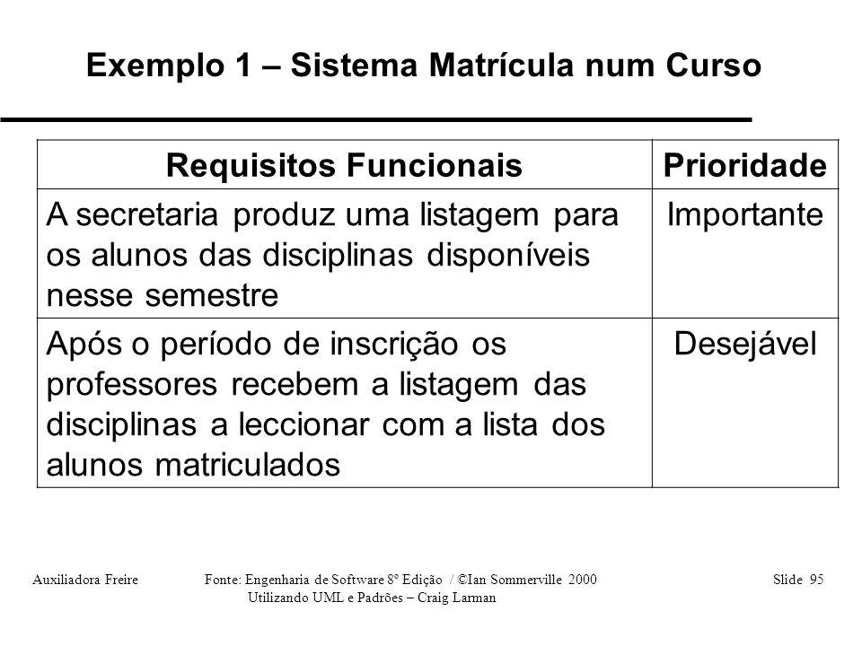 Auxiliadora Freire Fonte: Engenharia de Software 8º Edição / ©Ian Sommerville 2000 Slide 95 Utilizando UML e Padrões – Craig Larman Requisitos Funcion