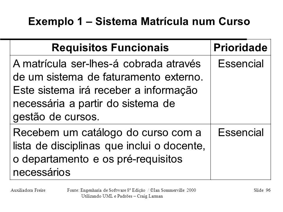 Auxiliadora Freire Fonte: Engenharia de Software 8º Edição / ©Ian Sommerville 2000 Slide 96 Utilizando UML e Padrões – Craig Larman Requisitos Funcion