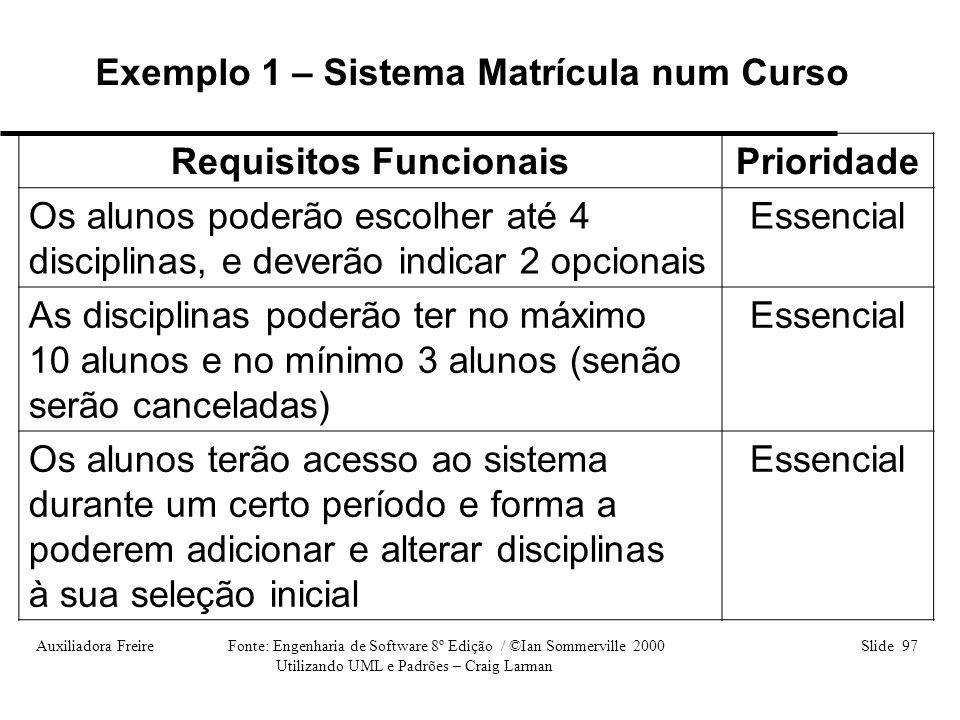 Auxiliadora Freire Fonte: Engenharia de Software 8º Edição / ©Ian Sommerville 2000 Slide 97 Utilizando UML e Padrões – Craig Larman Requisitos Funcion