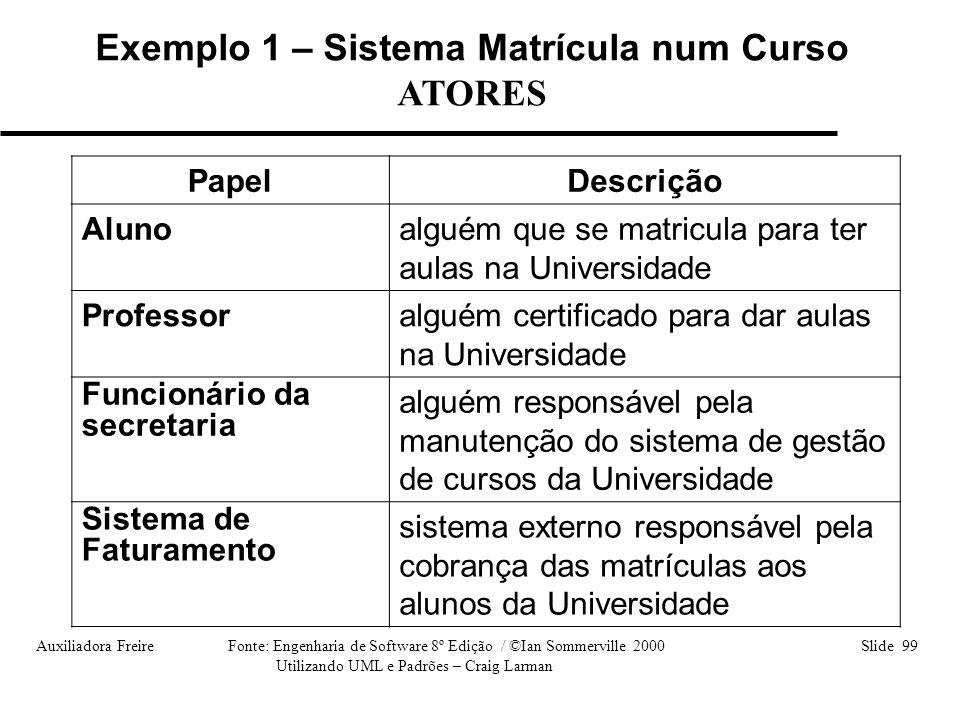 Auxiliadora Freire Fonte: Engenharia de Software 8º Edição / ©Ian Sommerville 2000 Slide 99 Utilizando UML e Padrões – Craig Larman PapelDescrição Alu