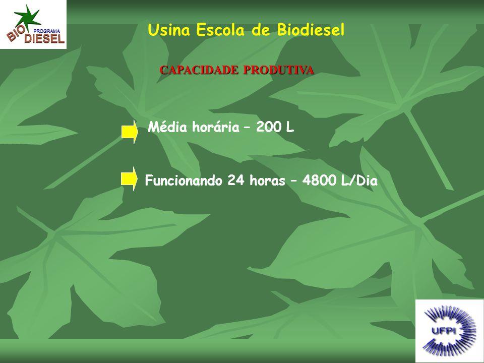 Usina Escola de Biodiesel CAPACIDADE PRODUTIVA Média horária – 200 L Funcionando 24 horas – 4800 L/Dia